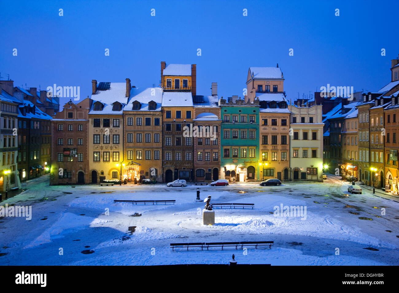 Winter twilight in the Old Town Square in Warsaw. - Stock Image