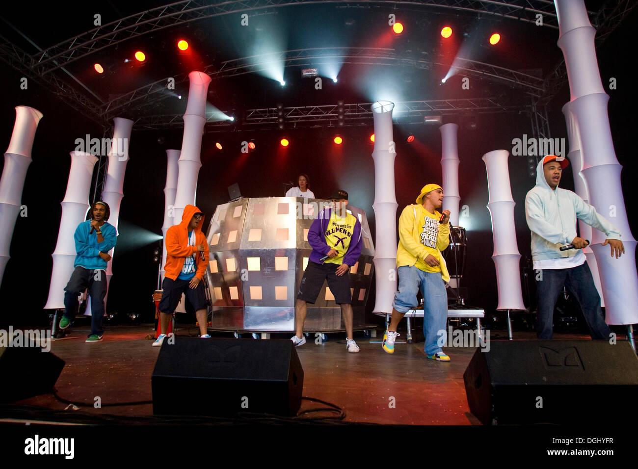 German pop-reggae band Culcha Candela live at the Heitere Open Air in Zofingen, Switzerland - Stock Image