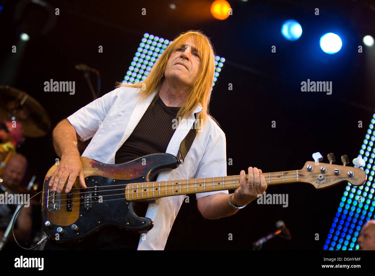 Trevor Bolder, bass player of the British rock band Uriah Heep live at the A Magic Night Of Rock Open Air at the Heitere in - Stock Image