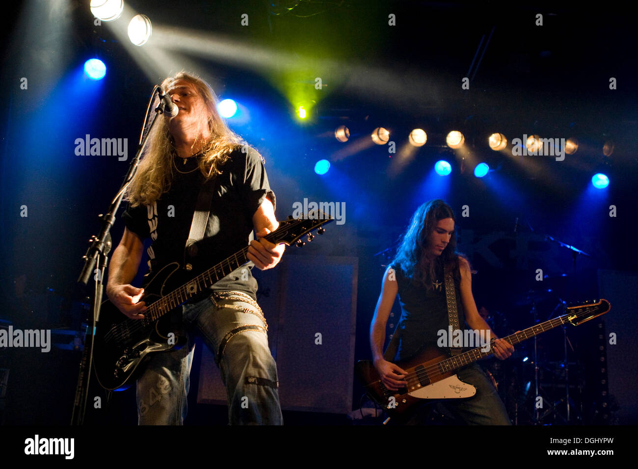 Thomas Muster, guitarist of the Swiss hard rock band Shakra live at the Schueuer concert hall, Lucerne, Switzerland - Stock Image
