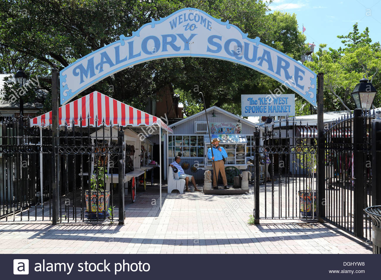 entrance to mallory square key west at the southern end of the florida keys - Stock Image
