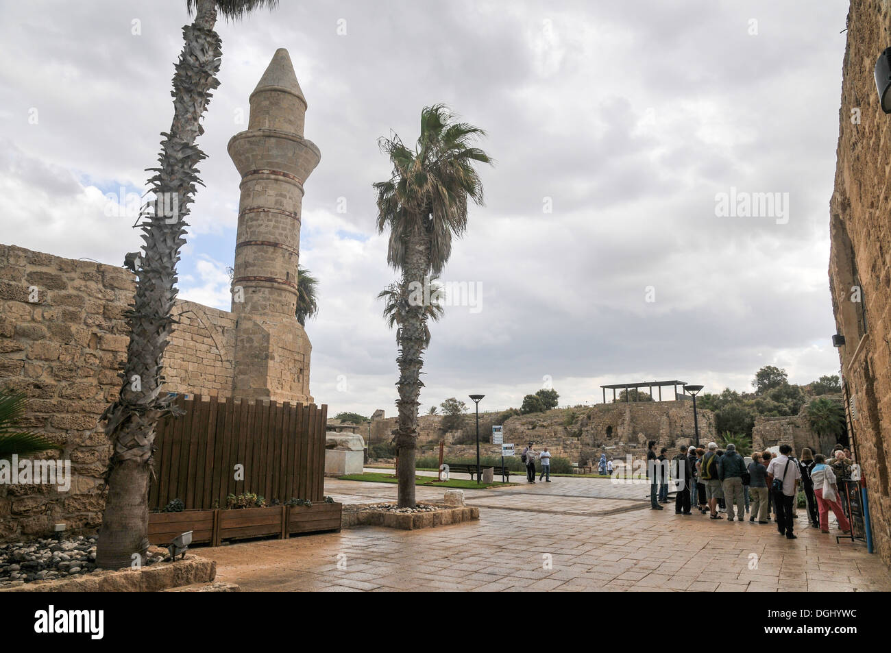 Turret of the mosque, erected by Moslems from Bosnia, Caesarea, Israel - Stock Image