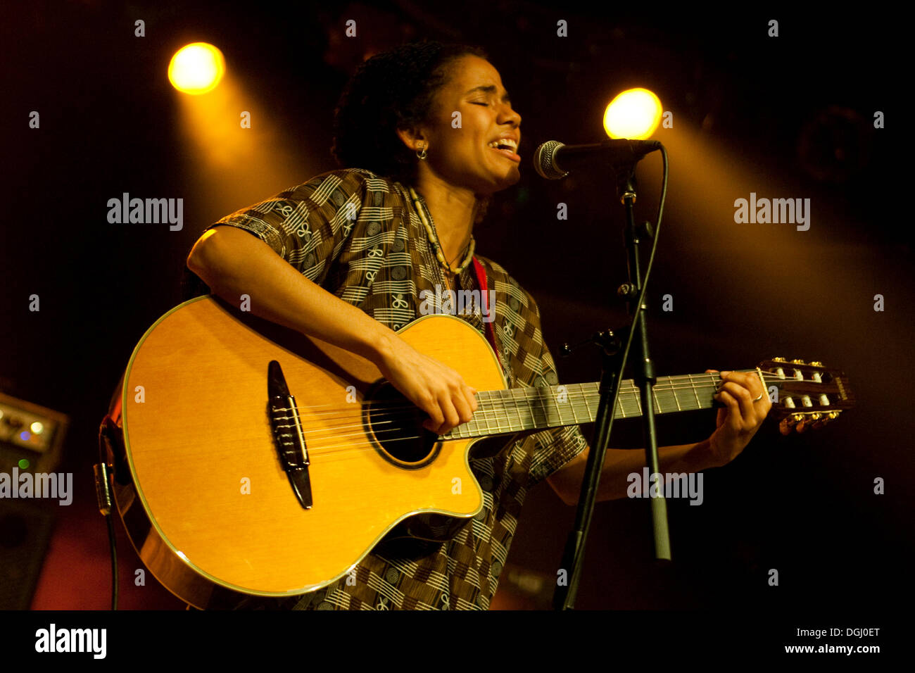 Nneka, Nigerian hip-hop-soul singer songwriter, based in Hamburg, live in the Schueuer, Lucerne, Switzerland Stock Photo