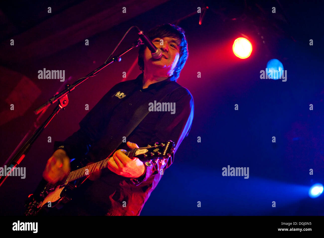 Rodrigo Gonzalez, guitarist and band member of Die Aerzte, here playing with the German punk band Abwaerts, live in the Schueuer - Stock Image