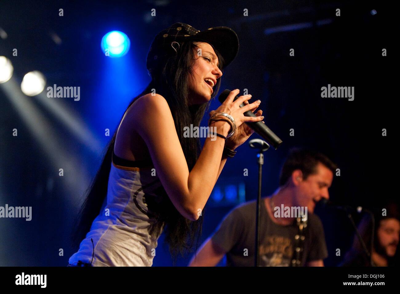 The Swiss singer Bernadette Hoehn aka Boerni live at the Schueuer venue, Lucerne, Switzerland Stock Photo
