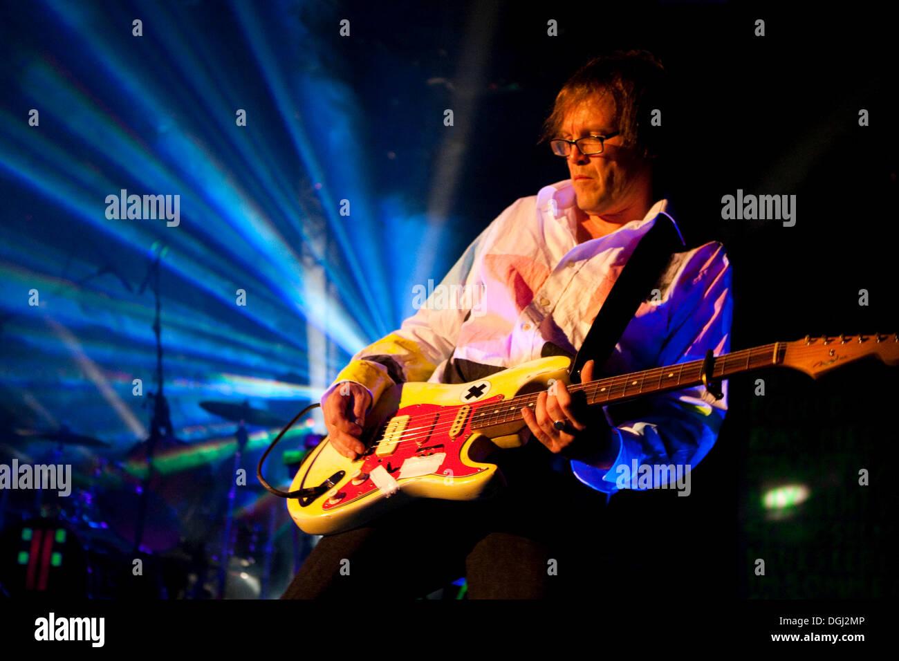 Uwe Jahnke, guitarist of the German band Fehlfarben live in the Schueuer venue, Lucerne, Switzerland - Stock Image