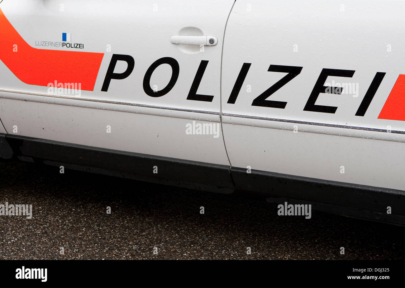 Lettering of the Lucerne Police force, saying 'Polizei', Malters, Lucerne, Switzerland, Europe - Stock Image