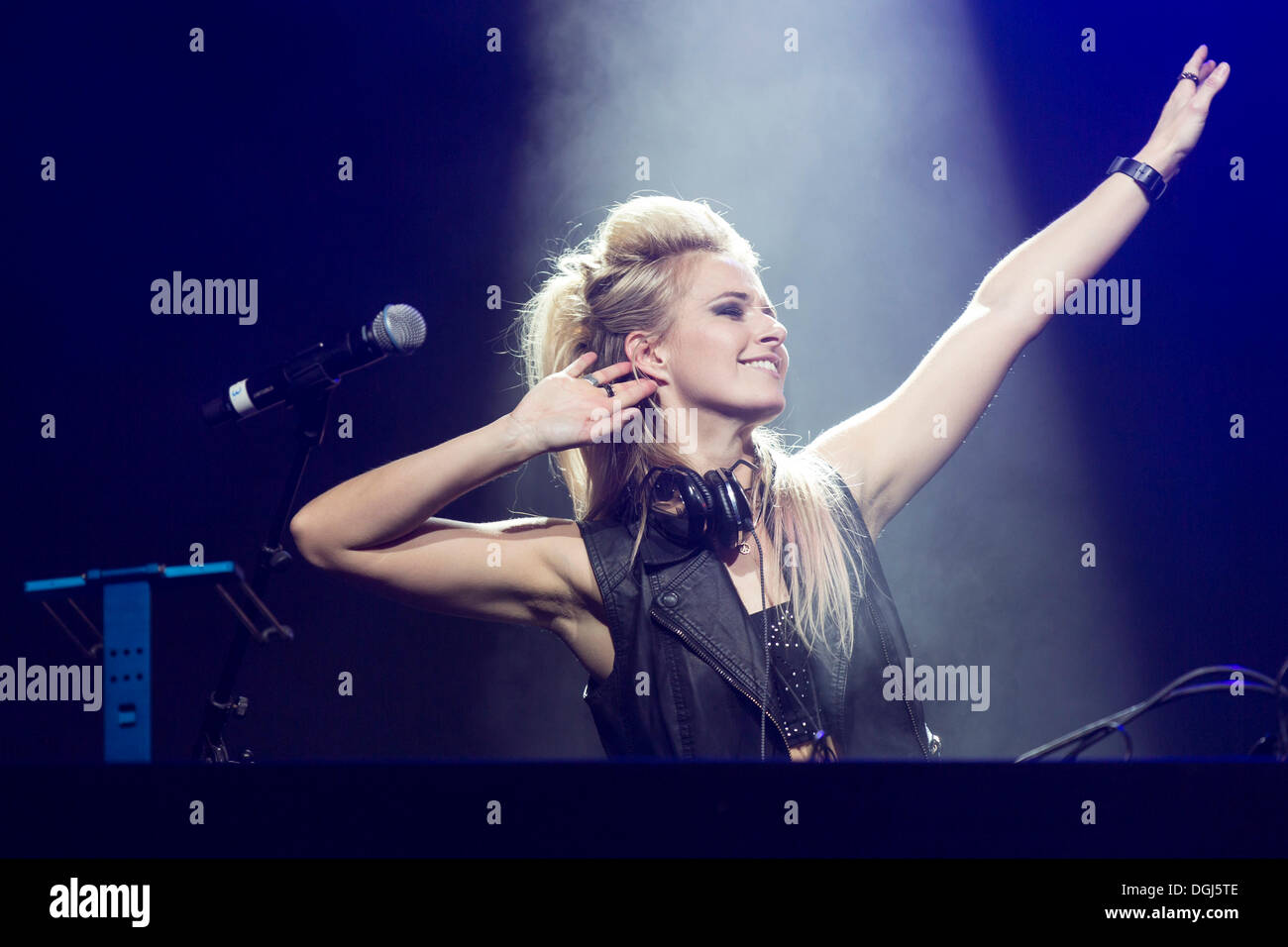 British DJ Krystal Roxx, the official DJ of the British R&B singer-songwriter Taio Cruz, performing live at Heitere Open Air in - Stock Image