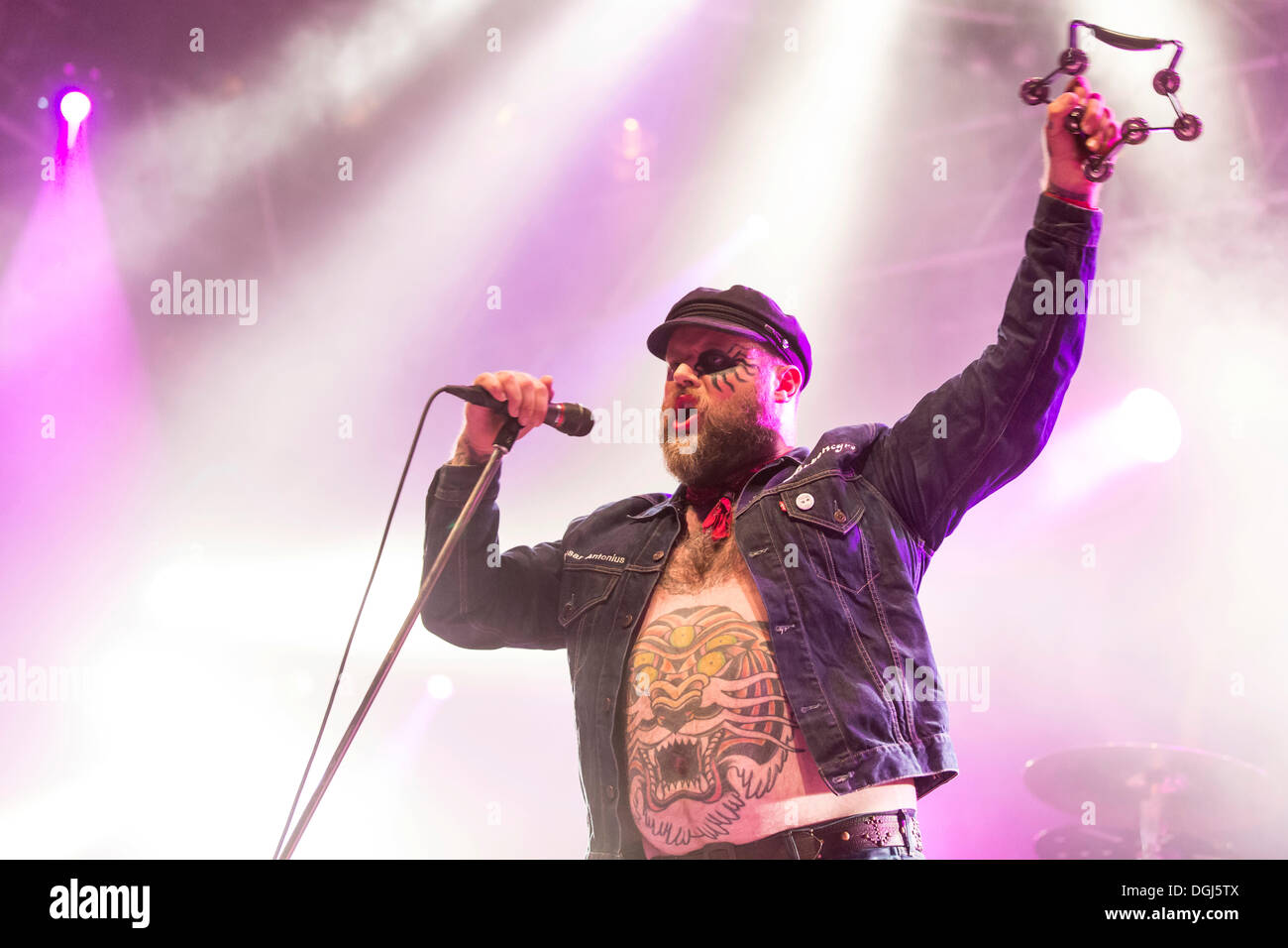 Singer and frontman Tony Sylvester from the Norwegian heavy metal, rock and punk band Turbonegro performing live at Heitere Open - Stock Image