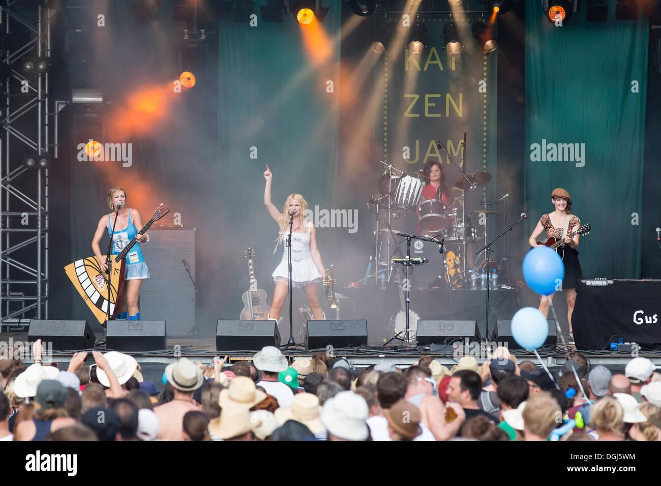 Norwegian girl band Katzenjammer performing live at Heitere Open Air in Zofingen, Aargau, Switzerland, Europe - Stock Image