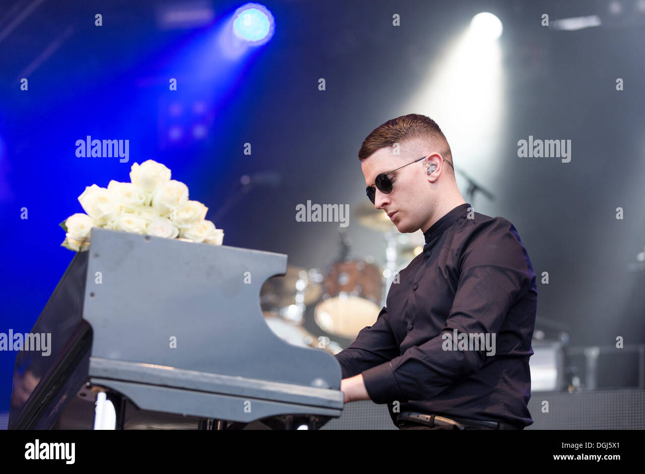 Pianist Adam Anderson from the British synth-pop band Hurts performing live at Heitere Open Air in Zofingen, Aargau, Switzerland - Stock Image