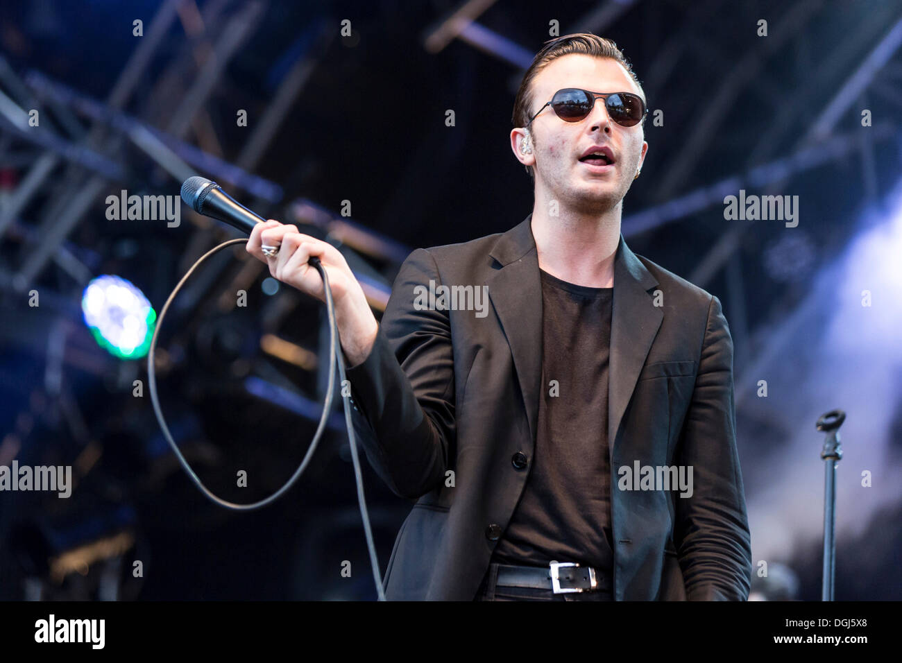 Singer Theo Hutchcraft from the British synth-pop band Hurts performing live at Heitere Open Air in Zofingen, Aargau - Stock Image