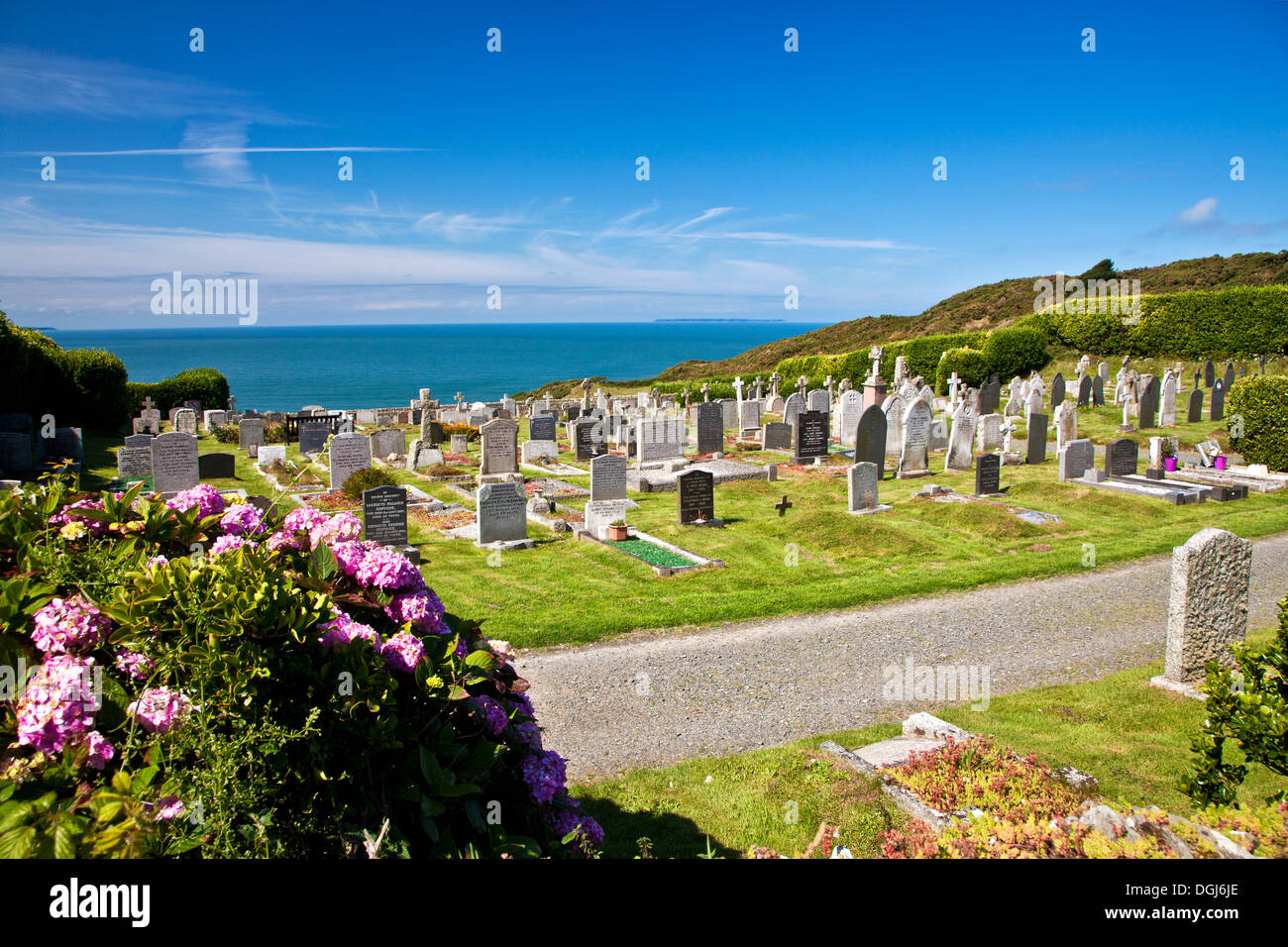 The cemetery at Morthoe overlooking the Bristol Channel and Lundy Island. - Stock Image