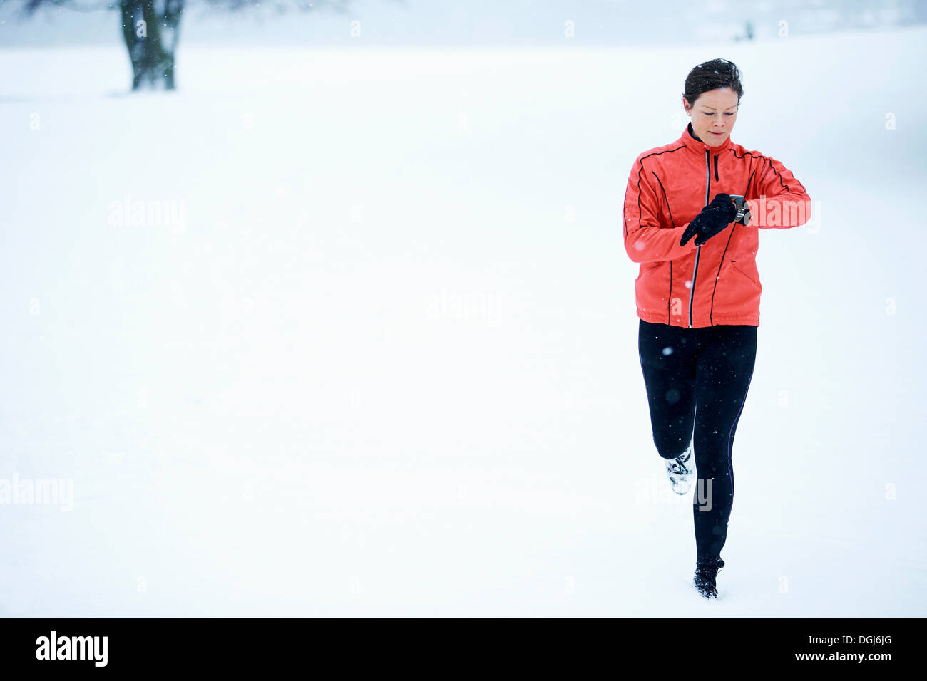 Woman timing her snow running - Stock Image