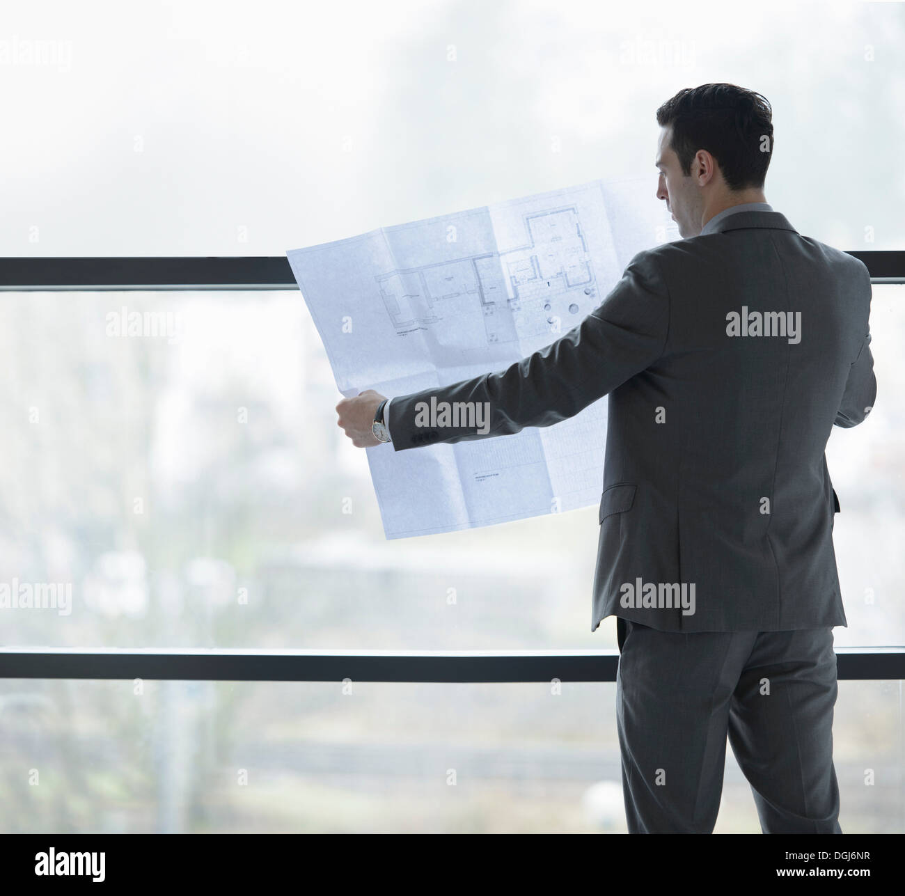 Architect inspecting plans by office window - Stock Image