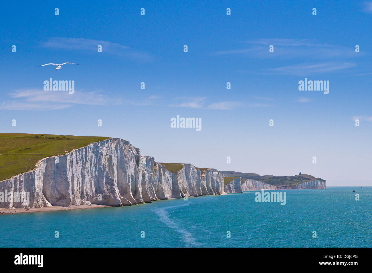 A view toward the chalk cliffs known as The Seven Sisters. - Stock Image