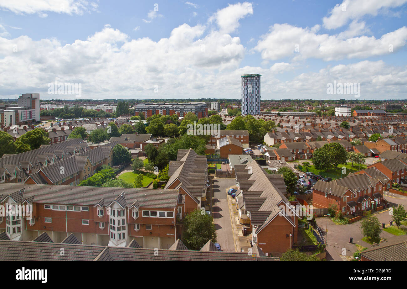 A view across the rooftops of Leicester. - Stock Image