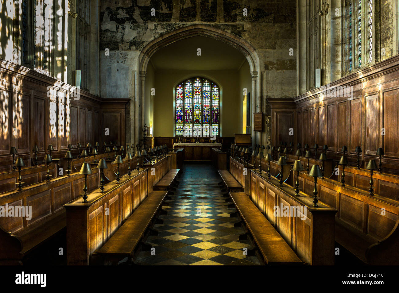 Interior of the Guild Chapel which overlooks the site of New Place where William Shakespeare died in April 1616. - Stock Image