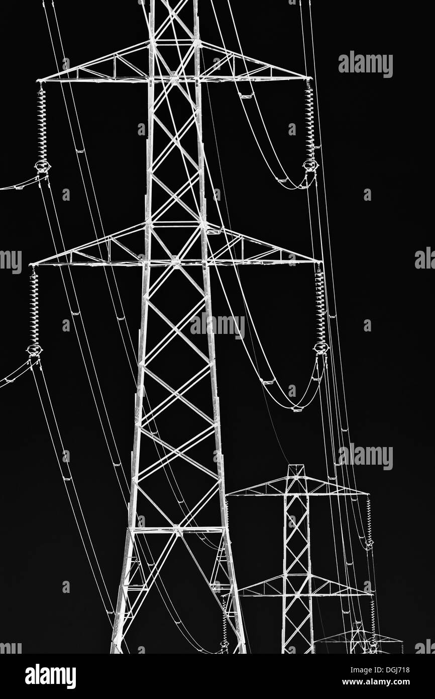 Grapic abstract image of a line of pylons in Leicestershire. - Stock Image