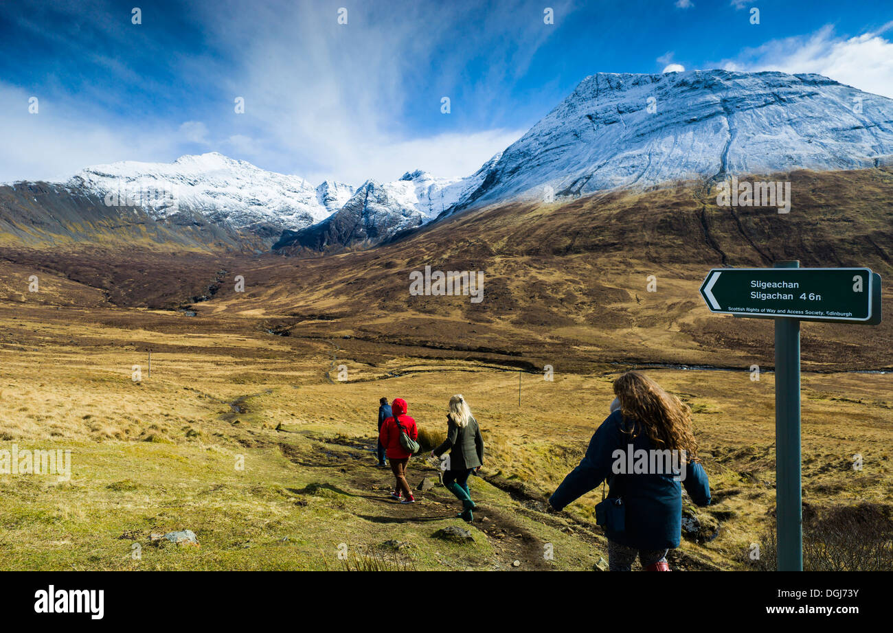 Path from Glen Brittle to Sligachan across the Cuillins. - Stock Image
