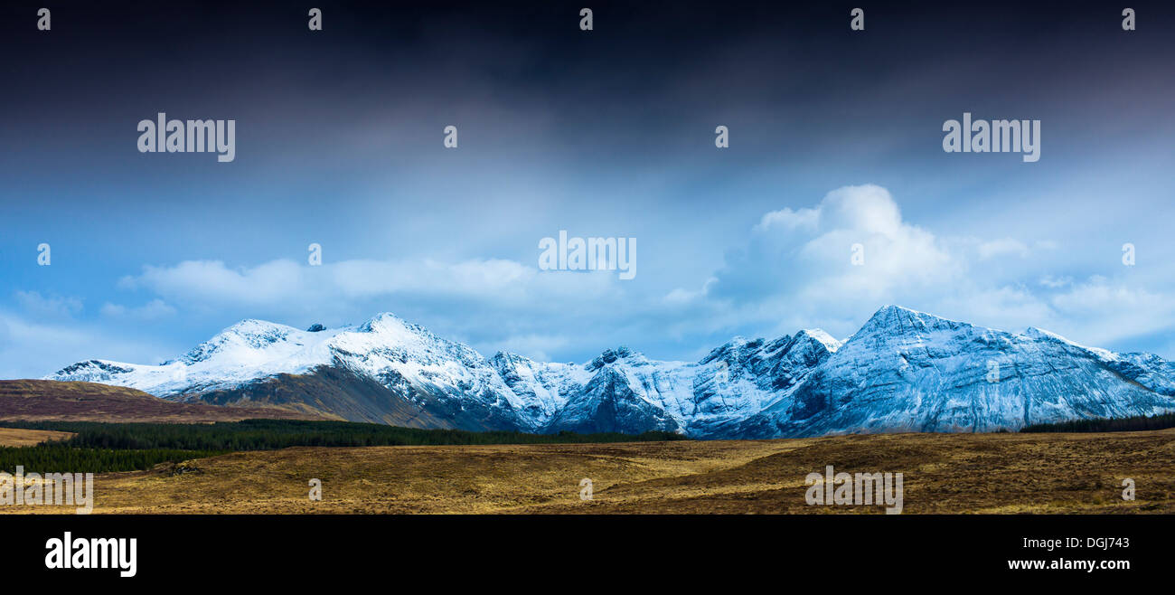 Black Cuillins from Glen Brittle. - Stock Image