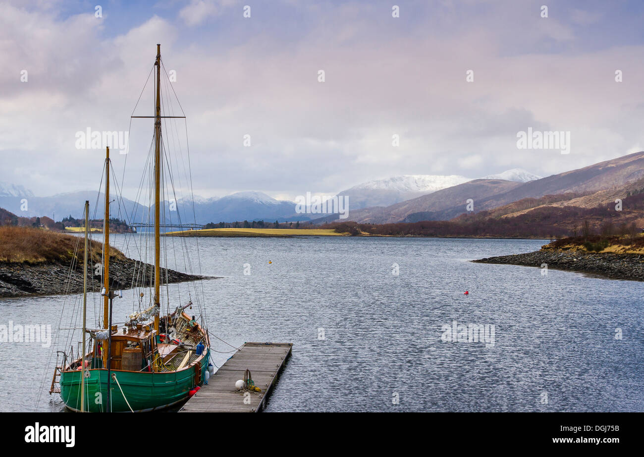 Yacht on Loch Leven. - Stock Image