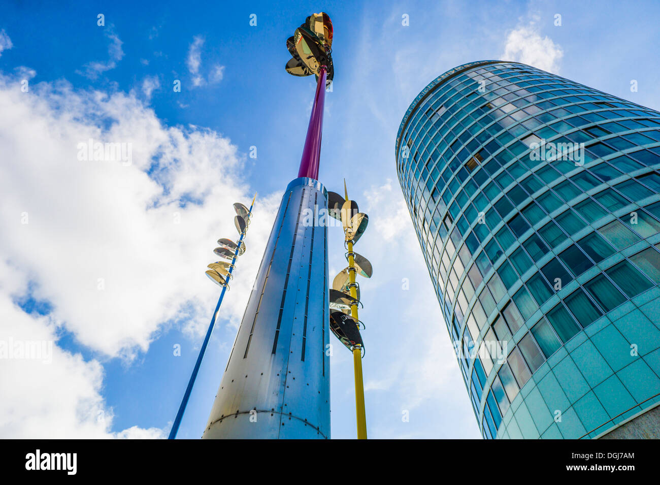 Sculptural poles and The Rotunda in Birmingham. - Stock Image