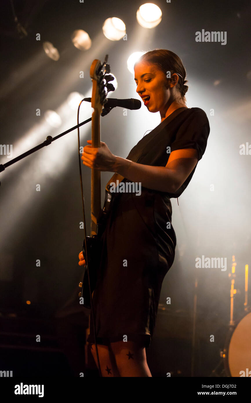 Bassist Betty Fischer from the Swiss indie rock band My Heart Belongs To Cecilia Winter performing live in the Schueuer Stock Photo