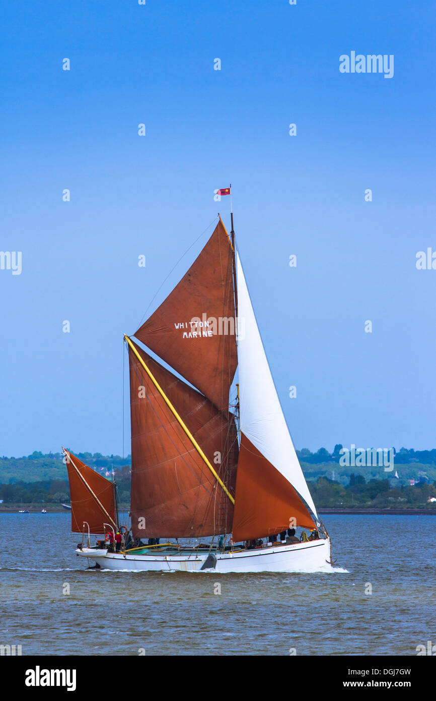 Thames sailing barge Niagara on the  Blackwater. - Stock Image