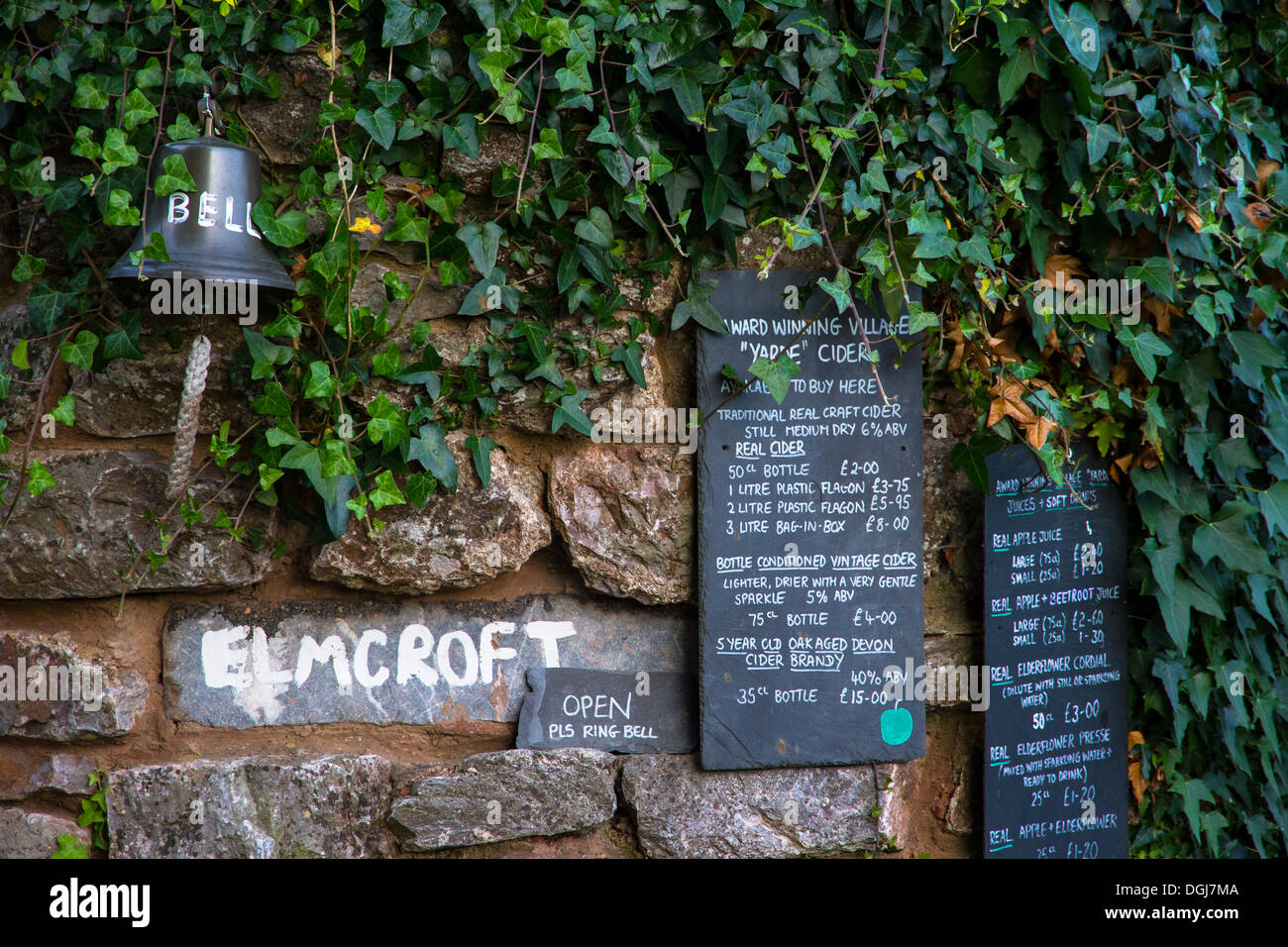 Signs for local produce in a rural setting. - Stock Image