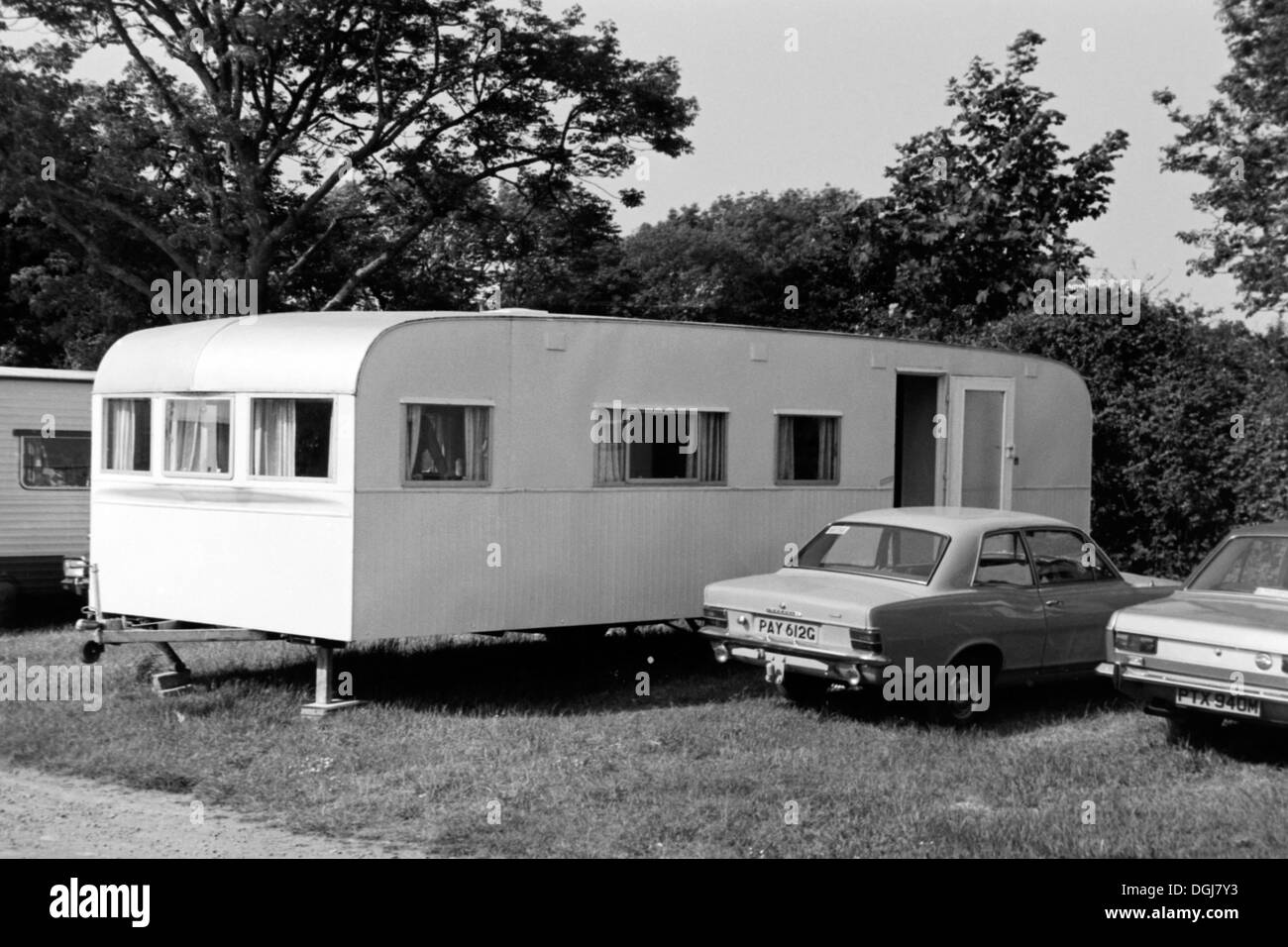 typical holidaymakers caravan accommodation on a site in wales during the 1970s uk Stock Photo