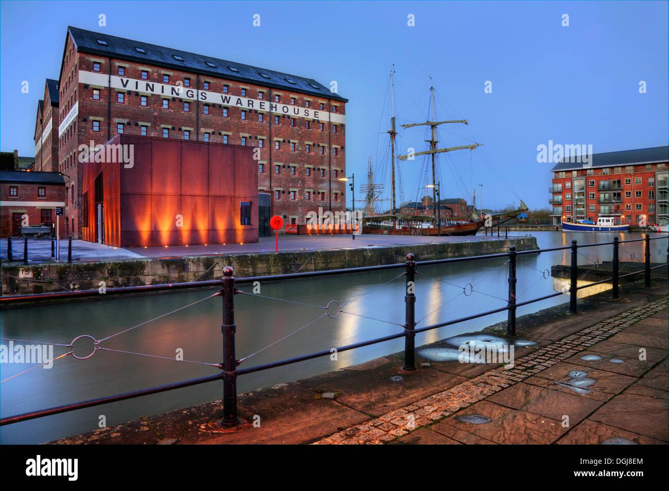 Gloucester Dock at night. - Stock Image