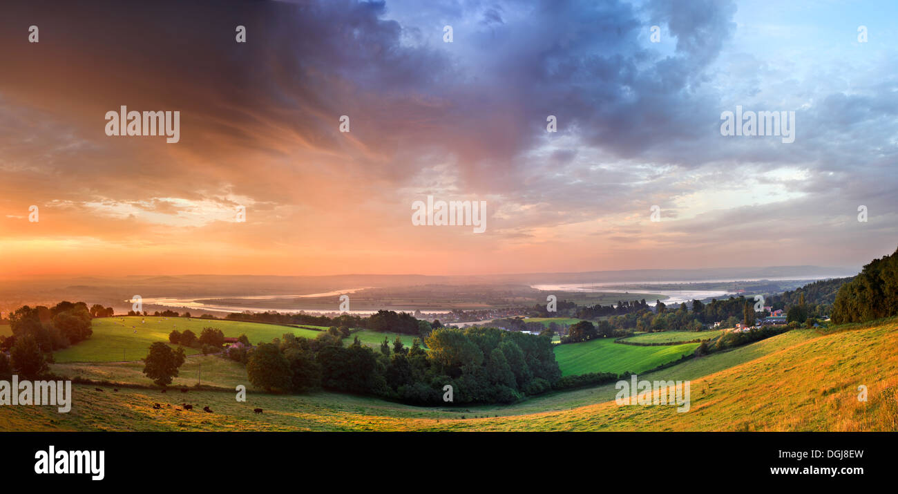 The River Severn horseshoe at Newnham seen from Pleasant Stile. - Stock Image