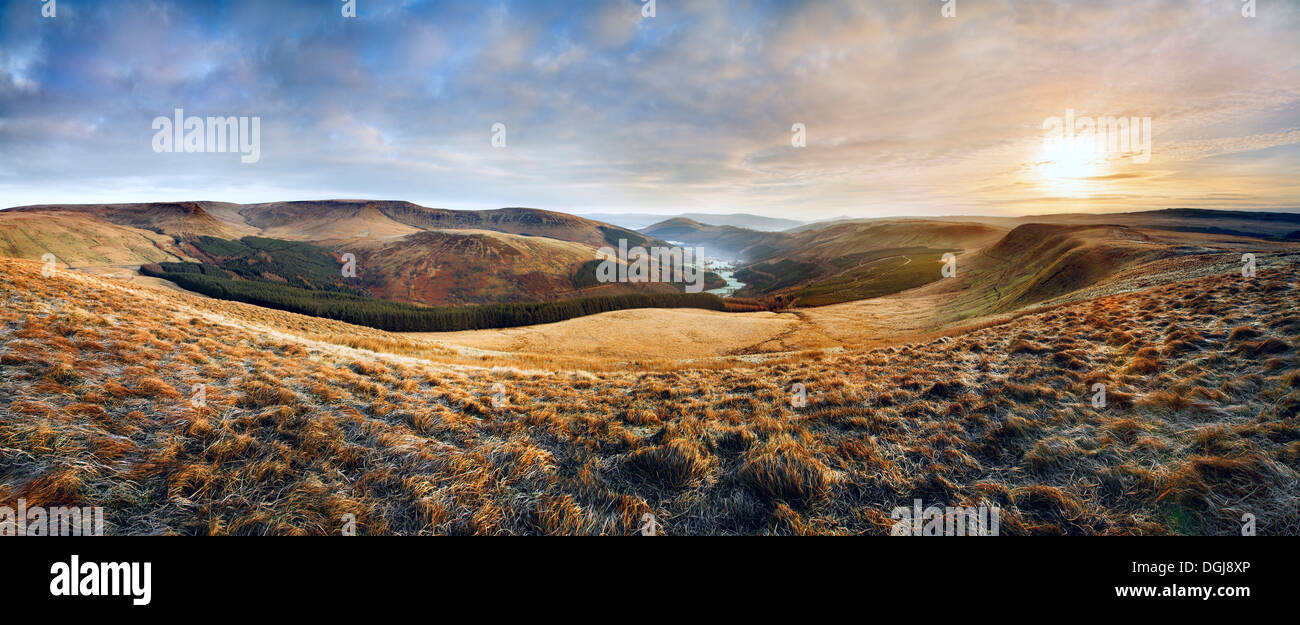 A view up the Glyn Collwn valley in the Brecon Beacons National Park. Stock Photo