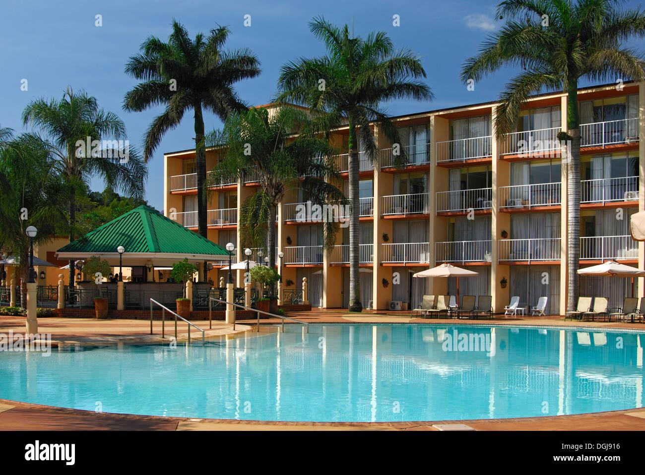 Lugogo Sun Hotel with swimming pool, Ezulwini, Swaziland, Africa - Stock Image
