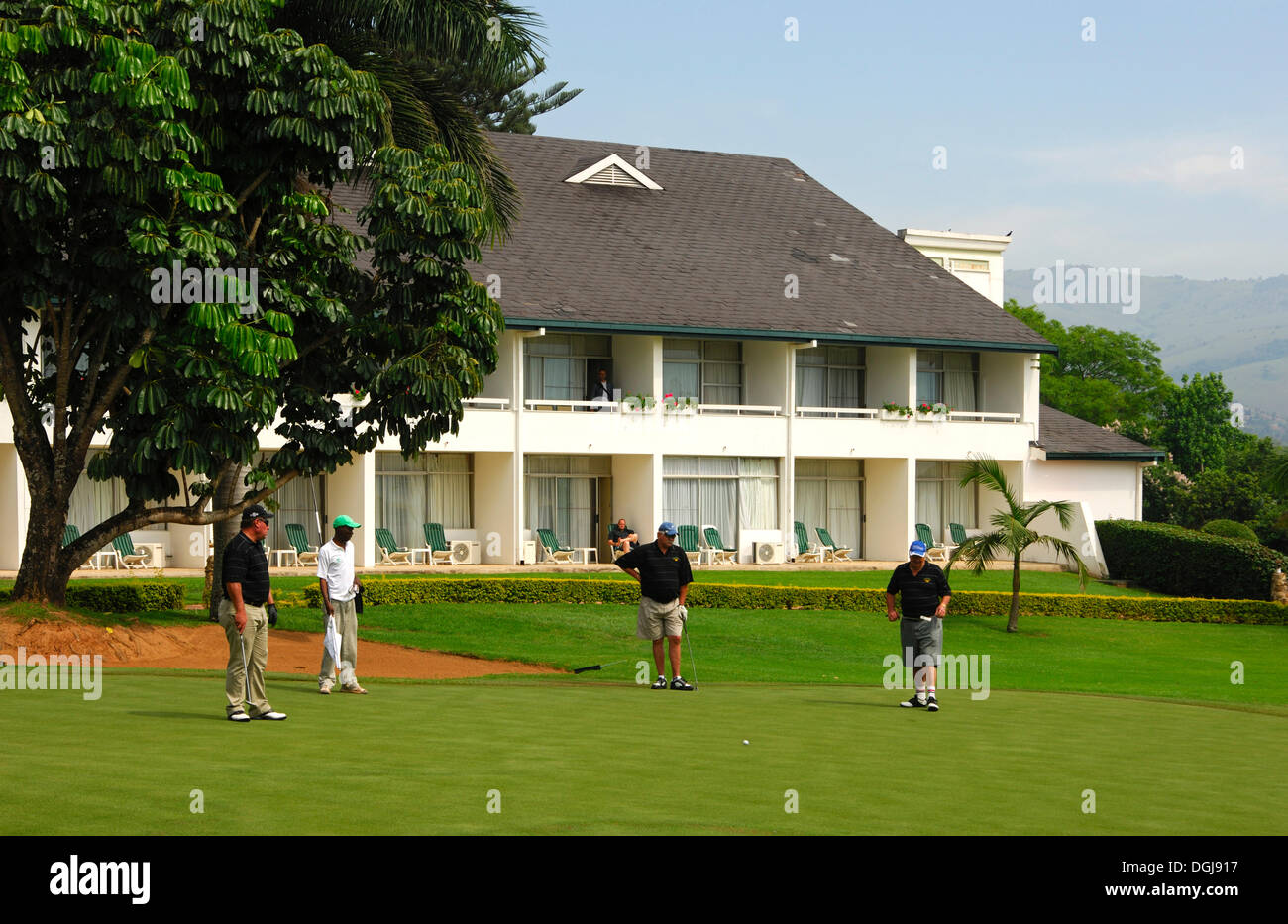 Golfers on the putting green in front of the Royal Swazi Spa Hotel, Ezulwini, Swaziland, Africa - Stock Image