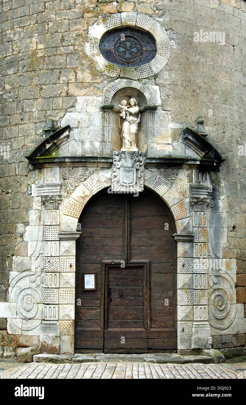 Portal of the Church of the Knights Templar, Saint Eulalie de Cernon, Aveyron, France, Europe - Stock Image