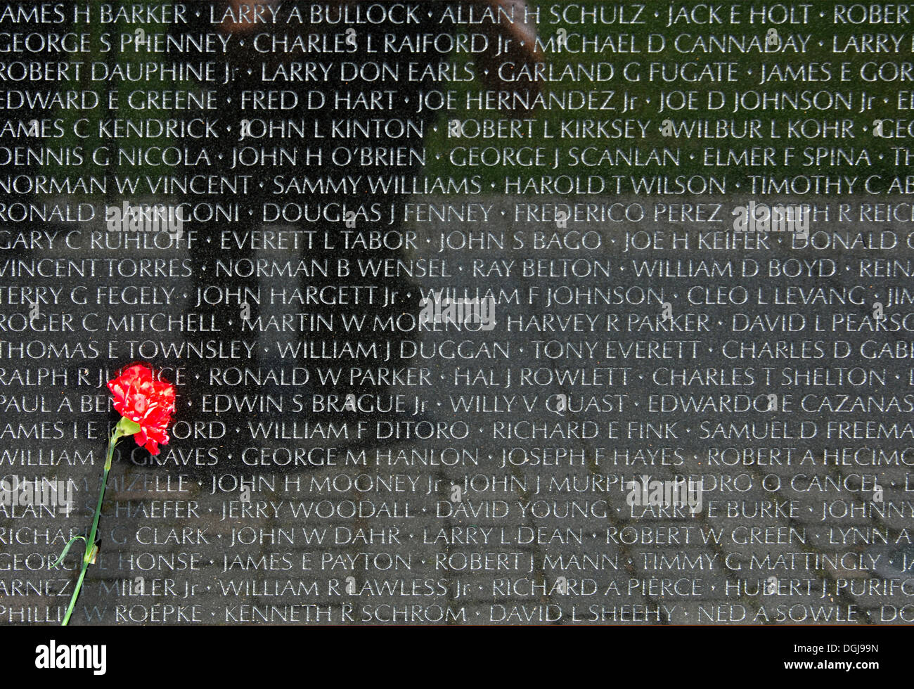 Red carnation in front of a tablet with the names of fallen US soldiers, National Memorial to those killed in the Vietnam War - Stock Image
