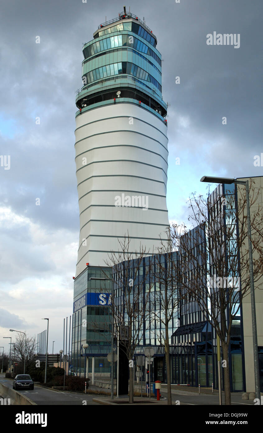 Air traffic control tower at Vienna International Airport, Vienna-Schwechat, Austria, Europe - Stock Image