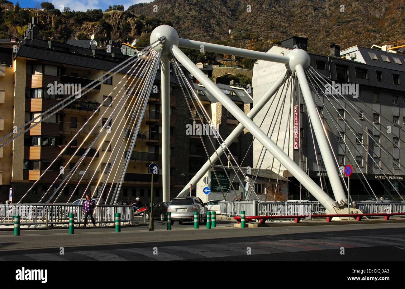 Pont de Paris, street Bridge in the center of Andorra la Vella, Principality of Andorra, Europe Stock Photo