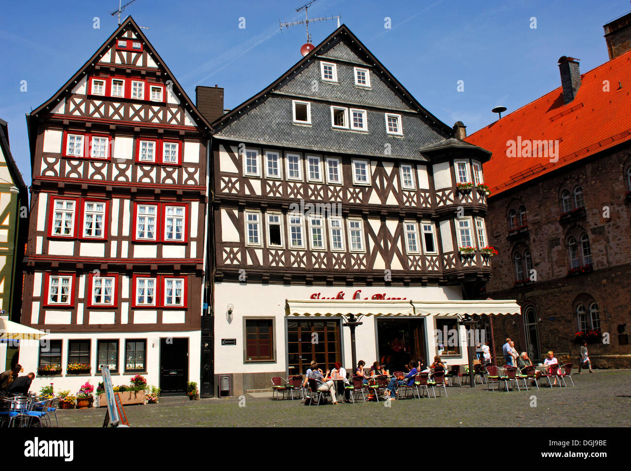 Buecking-Haus, a half-timbered house on the marketplace of Alsfeld, Hesse - Stock Image