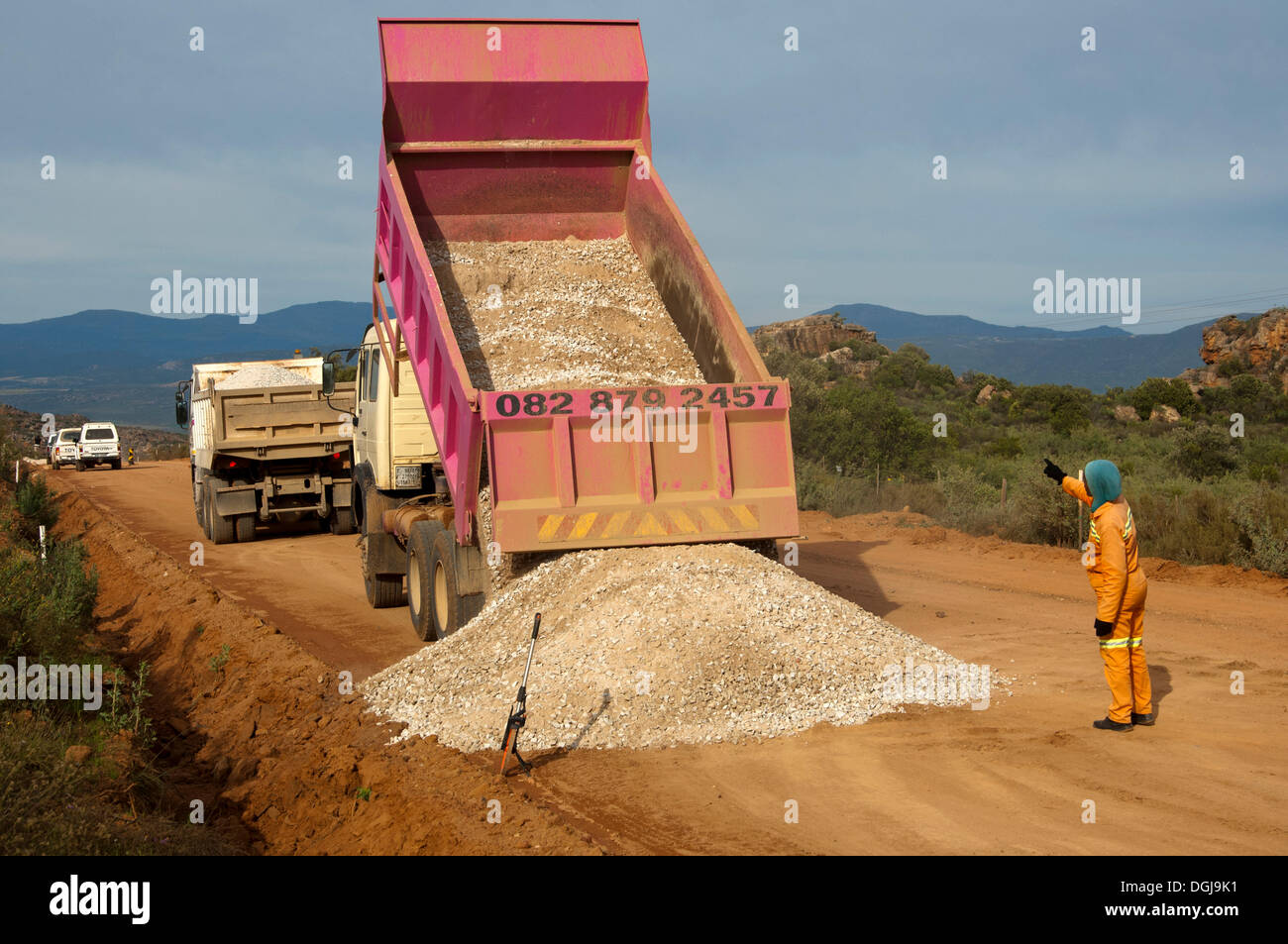 Dump Truck Unloading Gravel On A Street Road Construction In The Cederberg Region Clanwilliam Western Cape South Africa