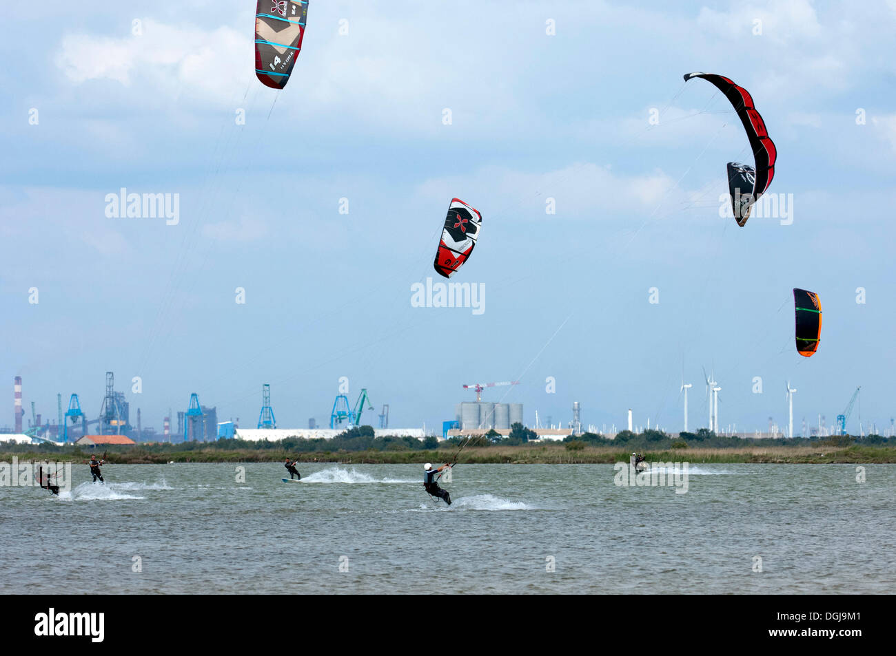 Kitesurfers on the Etang du Beauduc, Camargue, southern France, France, Europe - Stock Image