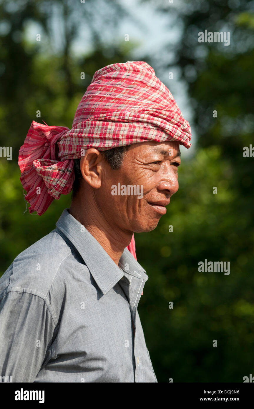 Khmer man wearing a kroma, a traditional headcloth, Battambang, Cambodia, Southeast Asia, Asia Stock Photo