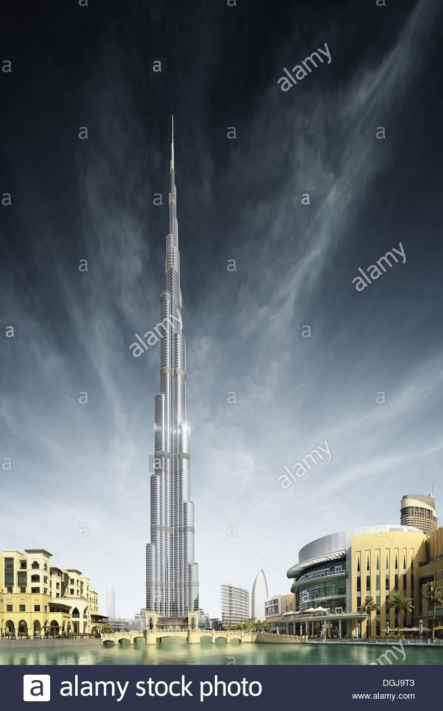 The Burj Khalifa in Dubai which is the tallest building in the world at 830 metres high. - Stock Image