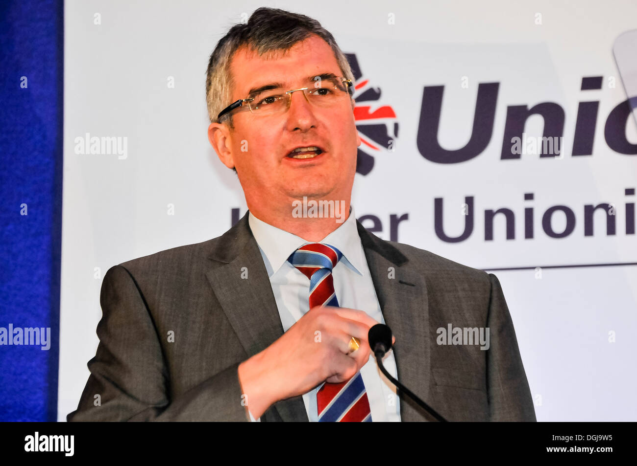 Belfast, Northern Ireland, UK. 19th Oct 2013 - Tom Elliott MLA speaks at the 2013 Ulster Unionist Party conference - Stock Image