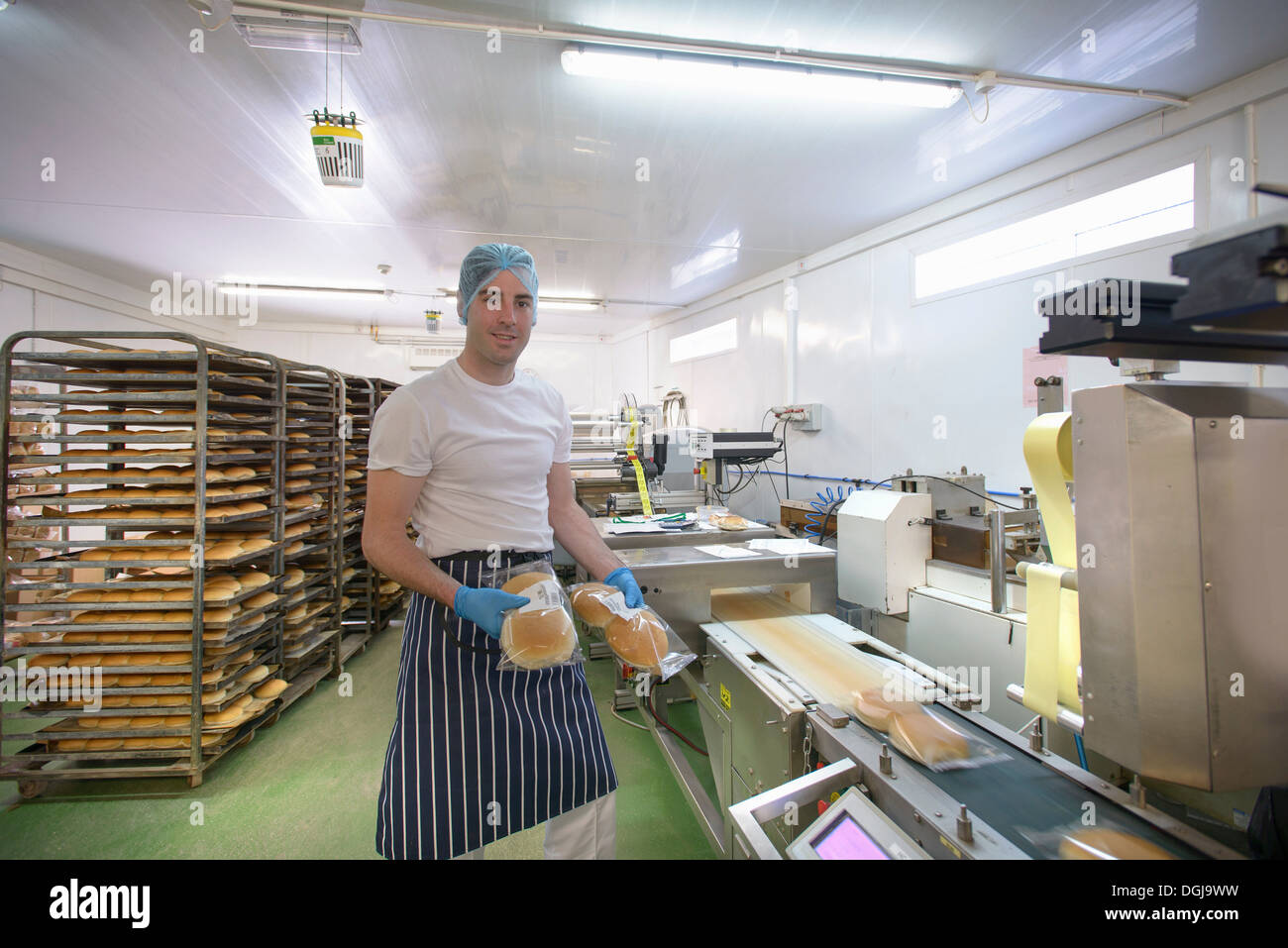 Baker on bread packing production line, portrait - Stock Image