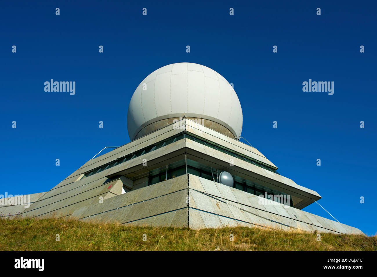Radome of the radar station for civil aviation at the summit of Groser Belchen or Grand Ballon Mountain near Guebwiller, Vosges - Stock Image