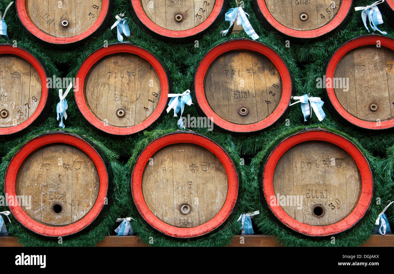 Beer barrels of Ettal Abbey, a Benedictine monastery, Ettal, Upper Bavaria, Bavaria, Germany - Stock Image