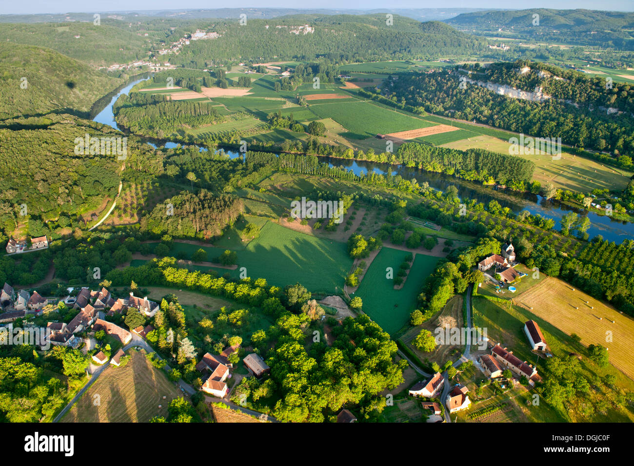 An aerial view over the Dordogne River and surrounding countryside. Stock Photo